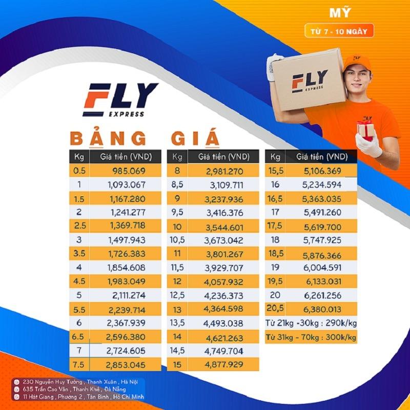 Bảng giá chuyển phát nhanh đi Mỹ tại Fly Express